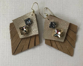 Leather Layered Kite Earrings with Rhinestones