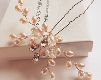 Vine hair pin, rose gold, silver or gold made with Swarovski crystal and pearls. Bridal accessory, wedding headpiece.