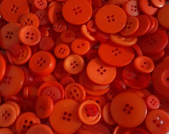Orange Button Mix - Assorted Buttons - Craft Buttons - Sewing Buttons - Plastic Buttons - Buttons For Clothing - 50g (approx. 70pcs) - CUK10