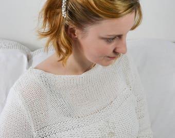 Wedding Haircomb Bridal Freshwater Pearls Ivory Blue