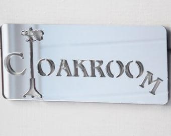 Cloakroom Acrylic Mirrored Door Sign