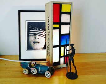 Mosaic lamp in a crate like Mondrian wine.