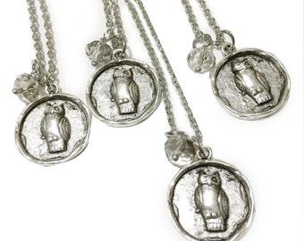 Mark of Athena Necklace, Athena Owl Wax Seal Pendant, Percy Annabeth Chase, Greek Mythology Necklace, Athena Gifts, Geeky, Pewter Owl