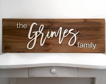 Last name wall hanging | Family name sign | Custom name sign | Farmhouse decor | Custom last name sign | Established sign | Wood signs