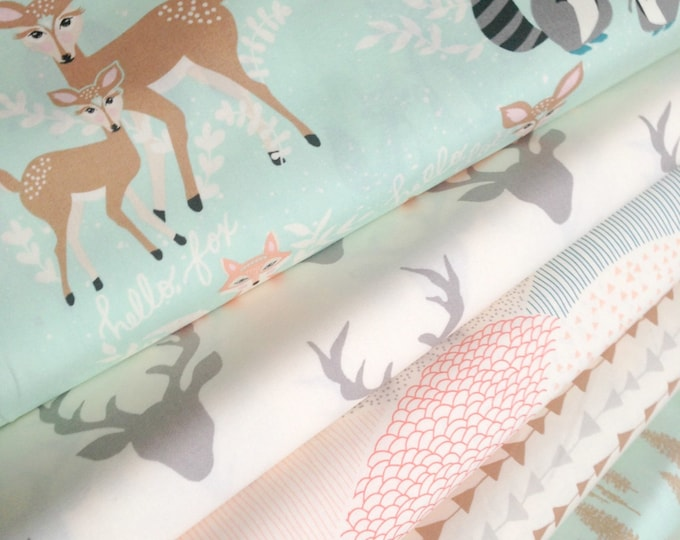 Hello Bear fabric bundle, Rustic Baby Quilt Fabric, Woodland Blanket fabric, Rustic Decor, Deer fabric, Bundle of 5- You Choose the Cuts