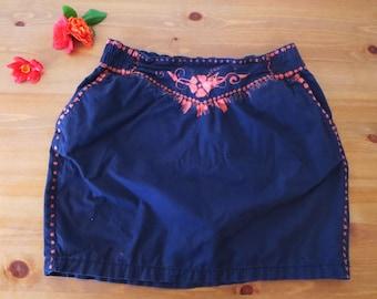 Boho skirt, up-cycled folk ethnic country black & red mini skirt.