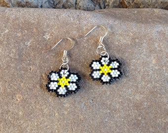Flower Peyote Beaded Earrings