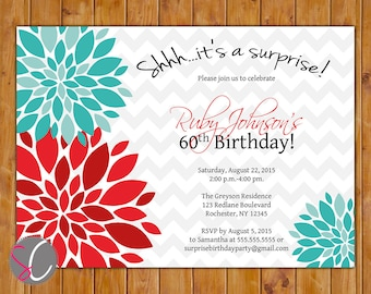 Adult Surprise Birthday Party Invitation Red Teal Floral Burst 50th 60th Teen Girl Adult Women Birthday 5x7 Digital JPG DIY Printable (425)