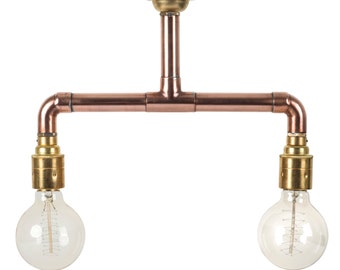 Copper Pipe Light Industrial Ceiling Light Brass E27 Lamp holders Edison