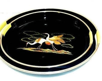 Vintage Lacquer Trays with Handles, Serving Tray, Black Lacquerware, Trays with Cranes, Asian Tray, Serving Platter, Mid Century,  1960s