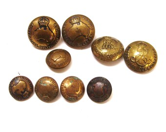9 World War I and II Australian brass uniform buttons  original Australia WW I and II
