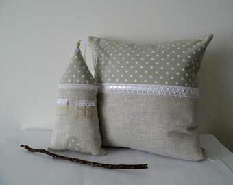 Fabric House And Throw Pillow, Linen And Lace, Country Home Decor, Rustic Home Decoration, Polka Dotted Pillow, Lace Embellishment, My Home