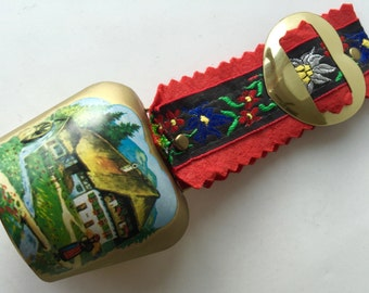Swiss Cow Brass Bell Souvenir Hand Painted Chalet Mountains Watermill Ribbon Heart 3x3in Vintage