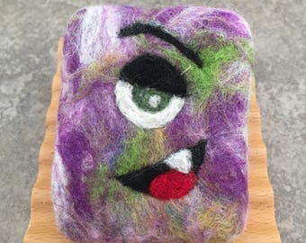 Felted Soap Goat Milk - Multi Colored Silly Monster Design in a Fruity Fragrance