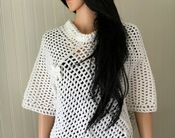 Boho crochet poncho - woman crochet poncho - white cotton poncho - handmade cotton poncho - spring summer poncho - white woman knitwear