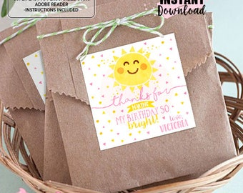 INSTANT DOWNLOAD - EDITABLE You are my Sunshine Favors You are my Sunshine Favor tags Party decorations You are my Sunshine thank you tag