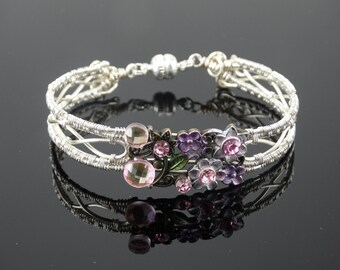 Non-tarnish Silver Wire Woven bracelet with slide