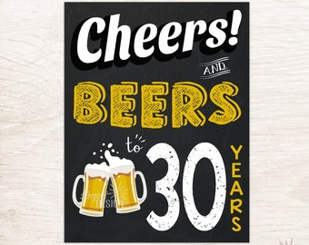 Cheers and Beers to 30 Years Party Sign Printable, Party Sign