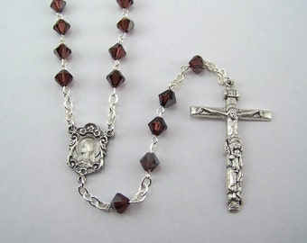 Burgundy Swarovski Crystal Rosary