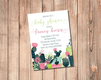 Cactus Fiesta Baby/Bridal Shower, Bachelorette, or Birthday,  Invitation - PRINT AT HOME