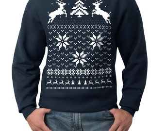 Ugly Christmas sweater -- Deer in the snow -- pullover sweatshirt -- s m l xl xxl xxxl