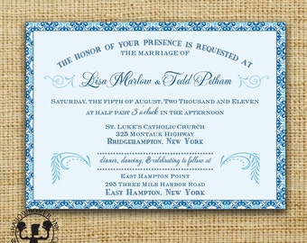 Blue Medallion Invitation Save the Date