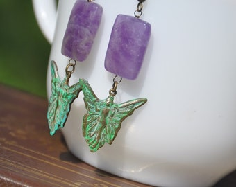 Patina'd Brass Godess Fairy with Amethyst Earrings