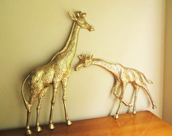 Vintage Brass Giraffes Giraffe Figurine Solid Brass Figurine Giraffe Wall Hanging Giraffe Figure African Africa Animal Statue Enesco Large