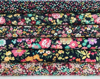 Regent Street Lawns 2018 - Bundle of 6 Navy Cotton Lawn Fabrics - Cotton Lawn Fabric - Moda Fabrics - Floral