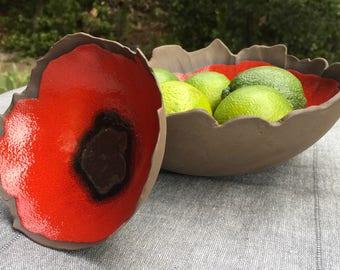 Bowl or basket black earthenware glazed poppy pattern