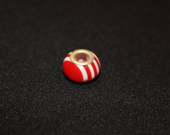 1 x Pearl (ALPHA Pack) red striped resin/silver - type pandora