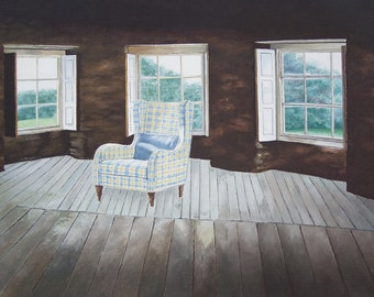 Solitude. Painting inside, decoration, boudoir, attic, Chair, cushion, windows on trees, realistic, modern, interior house paint