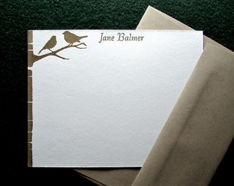 Custom Letterpress Stationery - 15 Personalized Notecards - Back to Nature Series - Birch Tree - Birds