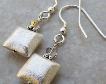 Silver Square Earrings, Metal Jewelry, Bali Sterling Silver, Drop Earrings, Dangle, Everyday Accessories, Handmade Jewelry
