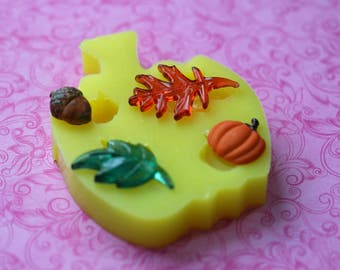 Silicone Leaf Mold Autumn Pumpkin Acorn Fall Molds Resin Polymer Clay Chocolate Fondant Baking Leaf Cabochons DIY Pumpkin Charms