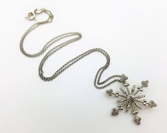 "Sterling Silver Snowflake Pendant Necklace with 16"" Chain"