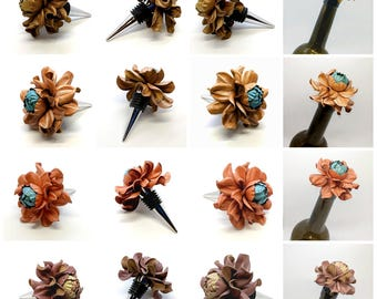 Unique Wine Lovers Gifts! Custom Wine Bottle Stoppers - Leather Rose Wine Gift|Designed Wine Corks|Wedding Favors & Bridal Shower gift ideas