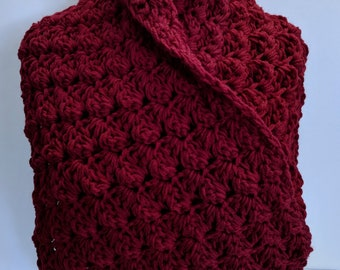 Blood Red Handmade Scarf Rich Bright Red Cowl Scarf Double Thick & On Sale Now!