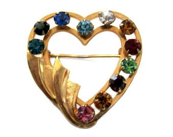 12 kt Gold Filled with Multi-Color Rhinestones Heart Brooch Pin