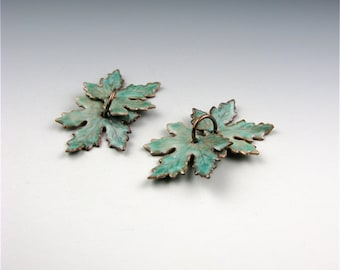 Enameled Small Maple Leaves / Peppermint Enamel  / Made to Order