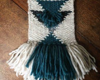 Blue and white geometric weave, woollen wall art, nursery, lounge