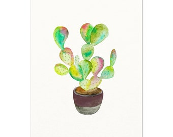 Boho Cactus Art Print. Watercolor Houseplant Illustration.  Southwest Art. Cactus art print.  Southwest decor.  Watercolor cactus print.