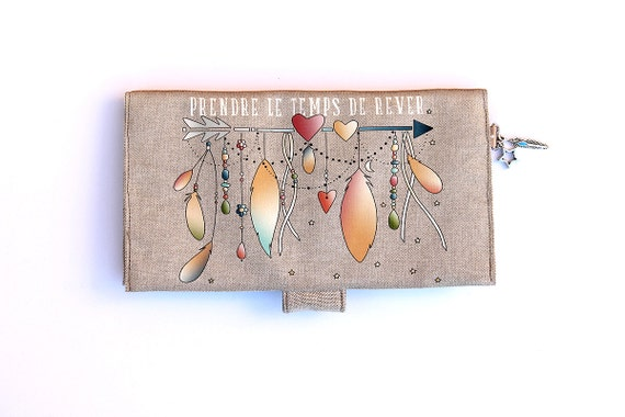"""Checkbook covers in natural linen featuring """"Take time to dream"""""""