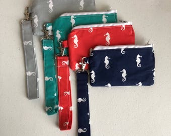 Seahorse small zippered pouch