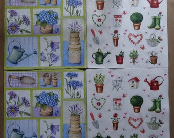 "4 ""gardening"" themed paper napkins"