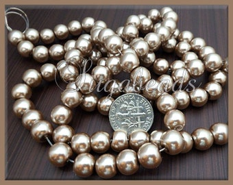 50 Mocha Latte Coffee Light Beige Brown Glass Pearls 8mm