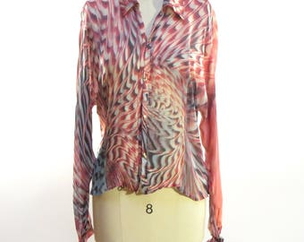 Vintage 90s, Roberto Cavalli Silk Blouse with Gold Buttons and Ties at the Sleeves. Size Large, Made in Italy!