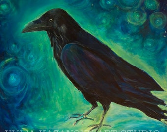 Star Raven Large canvas art print of original acrylic painting Raven art Dream black raven Stars blue painting Surreal art print