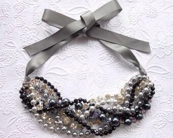 Chunky Pearl Necklace, Rhinestone Pearl Necklace, Bridal Necklace, Pearl Statement Necklace with Ribbon