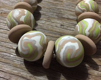 Leuca - Handmade Pale Polymer Clay Statement Necklace